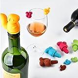 Hunpta Weinflaschenverschluss-Set mit 6 bunten Glasdekorationen, aus Silikon, Zufällig