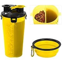 Tyhbelle Hund Trinkflasche unterwegs, Haustier reisenapf Wasserflaschen 2 Fächer mit Zusammenklappbar Schüssel Reisenäpfe für Outdoor Reise (Gelb)