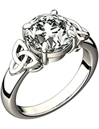 Sterling Silver Celtic Trinity Knot Ring, Large Cubic Zirconia Stone - 5