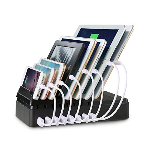 USB Ladestation, MaxTronic 8-Port USB Ladedock [68W / 2,4A Max] Desktop Ständer Multi Geräte Organiser Ladestations Halter mit Einfache Kabelaufbewahrung, USB Ladegerät dachtes Design Schnelle Direkt Aufladen für Smartphorne Tablets und Laptops (Kindle Stromkabel Lang)