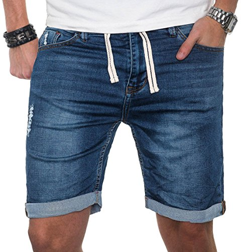Sublevel Herren Jeans Short Kurze Hose Bermuda Sommer Sweathose Slim Mix [B212 - Blau - W36] -