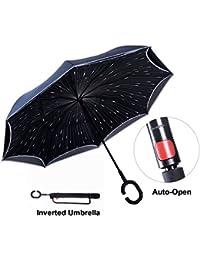 Paraguas Invertido con Tira Reflectora de Luz, Paraguas Reversible para Autos de Doble Capa,