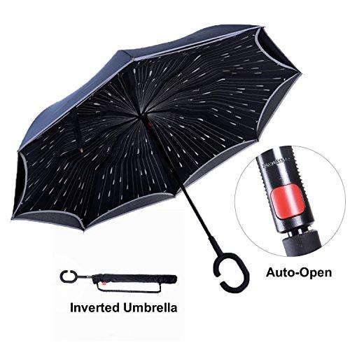 Paraguas Invertido con Tira Reflectora de Luz, Paraguas Reversible para Autos de Doble Capa, TravelEase Paraguas Autoabrible y Autolevantado con Mango en Forma de C (Lluvia de Meteoritos)