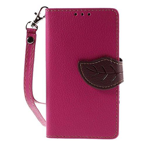 [A4E] Handyhülle passend für Sony Xperia Z5 Compact Kunstleder Tasche, Flip Cover, seitlicher Magnetverschluss, Standfuß, Kreditkartenfächer, Handschlaufe, mit floralem Blatt Muster (magenta, braun)