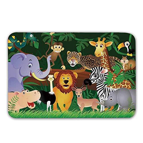 Kinhevao rutschfeste Gummi-Eingangsdecke des Zoos, Tiere im Dschungel Lustige Ausdrücke Exotischer Comic-Beifall Natürlicher Lebensraum Illustrations-Fußmatte für Haustür