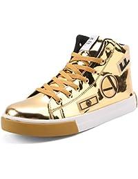 8af2a86467eb Herren Sneaker Lackleder Gummisohle Anti-Rutsch Rundzehen High-Top  Geschlossene Freizeitschuhe