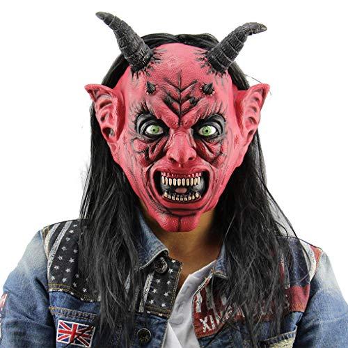 QWEASZER Teufel Satan Maske Halloween Kostüm Adult Horror lustige Halloween Maskerade Bar Cosplay Party der Teufel Latex Masken Prom Leistung Requisiten,Red-OneSize
