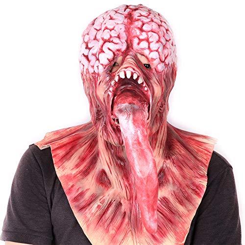 ALWONDER - Máscara de Halloween para Disfraz de Traje de Cerebro con Lengua, Disfraz de Disfraz de Zombie para Disfraz de Disfraz de esparcimiento de Cara Completa