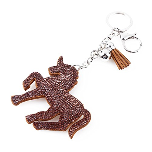 ODN Schlüsselanhänger Diamant Einhorn/Unicorn Mitgebsel Anhänger für Tasche und Schlüssel, Geschenkidee (Kaffee)