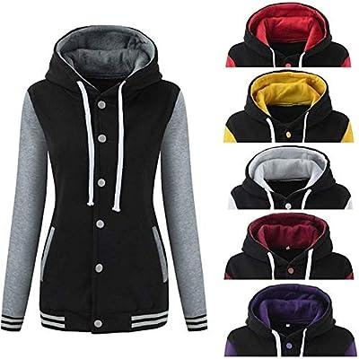 TITAP S-XL Womens Winter Warm Baseball Hoodie Hoody Sport Sweatshirt Overcoat