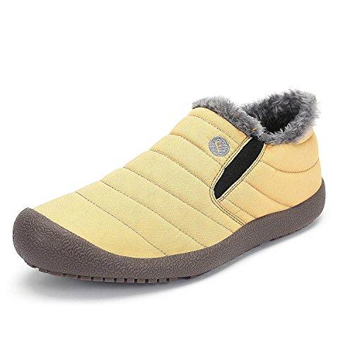 Minetom Unisex-Adulto Uomo Donna Primavera Invernali Pantofole Caldo Scarpe  Impermeabili Foderate Stivali B Giallo