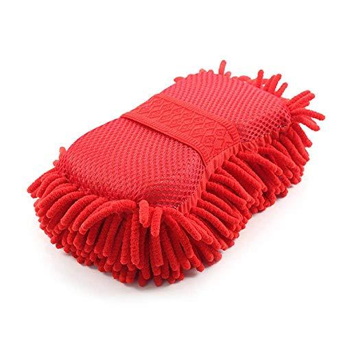 LIANGEGE Autowaschlappen Super Autowaschhandschuhe Auto Hand weiches Handtuch Mikrofaser Chenille Auto Reinigung Schwamm Block rot -