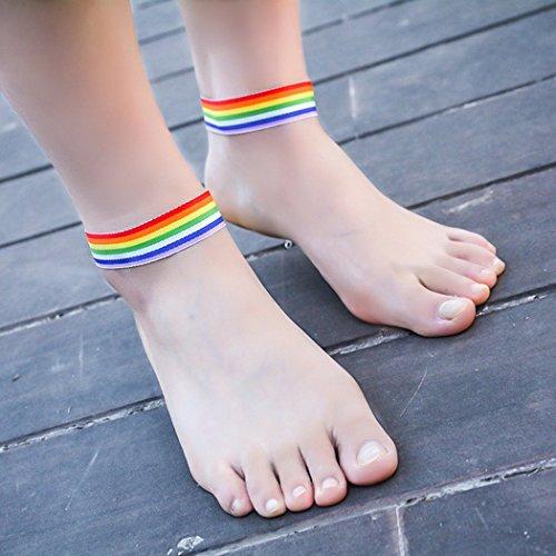 jovono Original tela tobillera arco iris gargantilla de patas para mujer (Pack de 1)