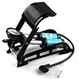 #7: Supermall 2018 New Imported Aluminum Alloy Bicycle Air Pump MTB Motorcycle Car Basketball Bike Foot Air Pump 150 psi High-Pressure Steel No-Slip Bike Inflatable- Black Color -Blue Color