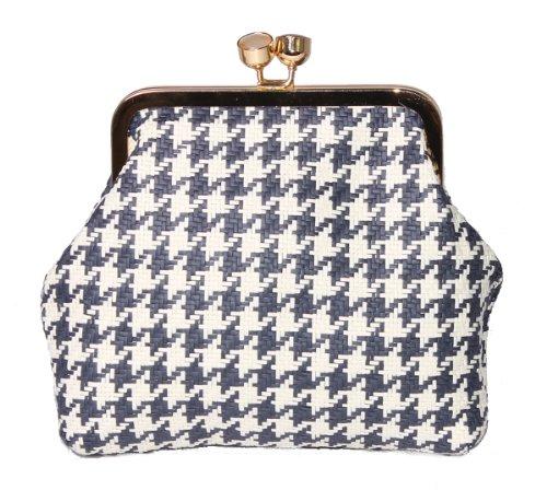 Evening Bags stile Vintage in tessuto con finiture in metallo e smalto Navy Dog tooth