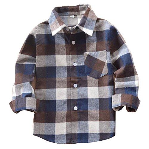 Ragazzi & ragazze cotone tartan camicie - unisex primavera autunno scuola casuale tartan camicia,e001-e009,2-14 anno