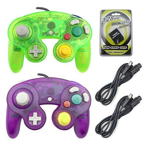 areme 2Packungen Game Cube Controller mit 2Extension Kabel und 128MB Speicherkarte für Nintendo WII Gamecube GC Konsole Clear Purple+Moss Green