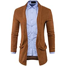 Alluing Autumn Winter Two-Tone Cardigan Hooded Knit Sweater Fashion Solid Long Trench Coat Jacket Mens Slim Fit
