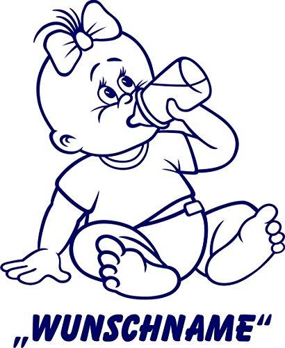 INDIGOS UG - Babystrampler / Strampler 068 mit Wunschname / Wunschtext schwarz 86/92