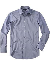 RENÉ LEZARD Herren Hemd Baumwolle Oberhemd Gestreift, Größe: 39, Farbe: Blau