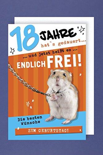 Geburtstag 18 Grußkarte AvanFun Tiermotive Hamster an Kette 16x11cm