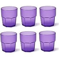 Omada Design 6 verres à boissons de 30 cl pour vos long drink en plastique 9 cm de hauteur, incassables,forme octogonale…