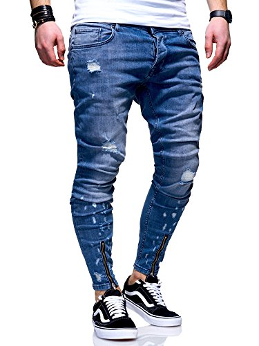 MT Styles Herren Zip Jeans Hose JN-3630 [Blau, W34/L32] (Zip-pocket Jean)