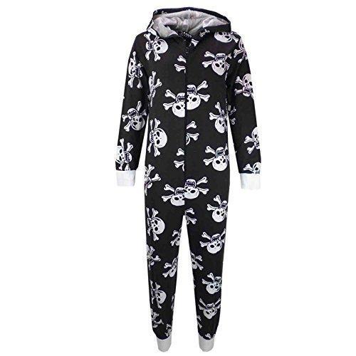isex Mädchen Jungen Schädel & Kreuzknochen Onesie Halloween Kostüm Overall PJ 5-13 Jahren - Schwarz, EU 146-152 (Top 5 Halloween Kostüme Für Jungen)