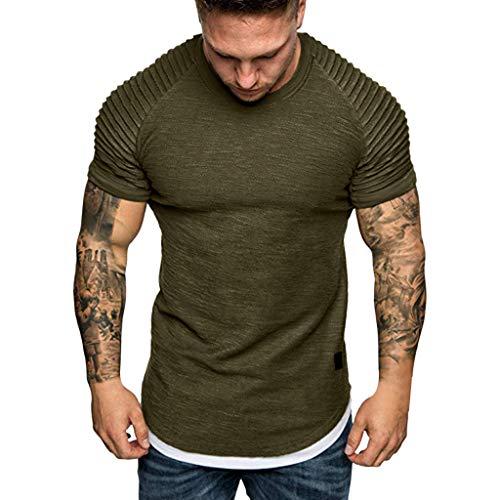EUZeo Herren Casual Einfarbig V-Ausschnitt T-shirts Kurzarm Geeignet Für Workout Training Slim Fit kurzärmlig…