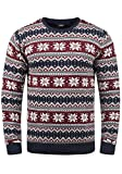 !Solid Winno Herren Weihnachtspullover Norweger-Pullover Winter Strickpullover Grobstrick Pullover mit Rundhalsausschnitt, Größe:XL, Farbe:Insignia Blue (1991)