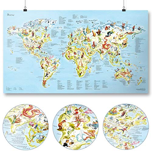 Awesome Maps - Golf Map - Illustrierte Weltkarte für Golf-Fans - 97,5 x 56 cm