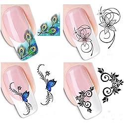 AIUIN 4 Piezas Pegatina de Uñas Aplique de Uñas Marca de Agua XF Guías de Clavar Tip Pegatinas Conjunto con Uñas de Manicura