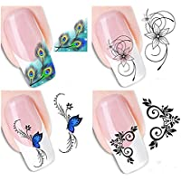 Westeng 4 Piezas Pegatina Decoracion para las Uñas Decal DIY Uñas Herramienta de Decoración Arte Adhesivos Uñas Pegatinas