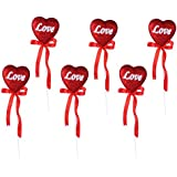 6Pcs Wedding Party Bowknot Love Sweat-Heart Silk Ribbon Decoration Birthday Cake Dessert Toppers (Red)