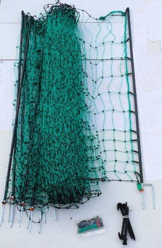 Grüner elektrifizierbarer Gartenzaun 50 Meter lang 112 cm hoch Steckzaun kleinmaschig(6x6cm)nkl. 14 Pfähle mit Doppelmetallspitzen flexibel stabil Gehege Schafe Kaninchen Kaninchenzaun Hasenzaun Kaninchennetz Schafnetz Weide Weidezaunbau Hasen Hühner Geflügel Geflügelnetz Hund Katze Koppelzaun Koppel Stromzaun Elektrischer Hundezaun Kleintierzaun Schutz gegen Marder Reiher Fuchs