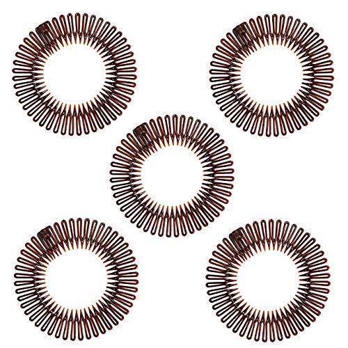 5 diademas elásticas plástico negro pelo