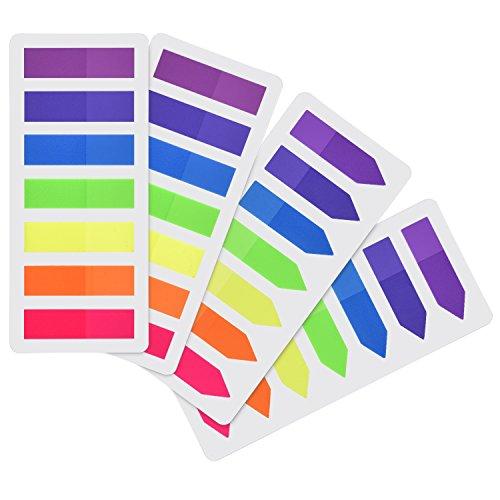 Outus 560 Stück Page Marker Farbige Index Tabs Flaggen Fluoreszierende Haftnotizen für Seitenmarkierung, 4 Set