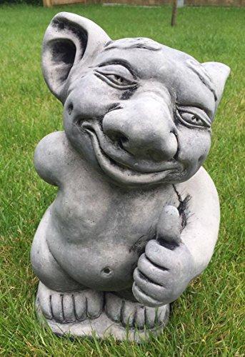 Gartenfigur Steinfigur Gnom Troll Zwerg Lustig Daumen ca. 14 kg Frostfest Stein