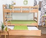 """Stockbett mit Bettkasten """"Easy Möbel"""" K13/h inkl. Liegeplatz und 2 Abdeckblenden, Kopf- und Fußteil gerundet, Buche Vollholz massiv Natur - Maße: 90 x 200 cm, teilbar"""