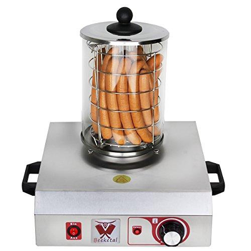 Beeketal 'BHG06a' Profi Gastro Hot Dog Maker mit 140 mm Korbdurchmesser, Edelstahl Hot Dog Maschine zum erhitzen von Würsten, schwere Edelstahl Ausführung mit Tragegriffen, Ausführung OHNE Heizspieße