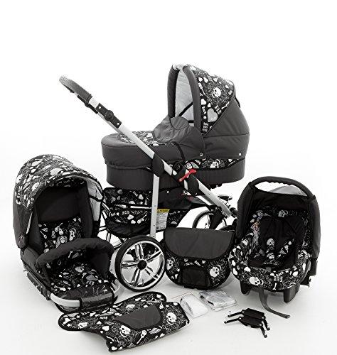 Milk Rock Baby Rock Baby Kinderwagen Komplettset (Autositz & Adapter, Regenschutz, Moskitonetz, Schwenkräder) 03 Graphit & Totenkopf