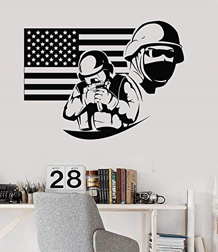 haninj Amerikanische flagge soldat militär amerikanische patriot vinyl wandtattoos universität schlafsaal dekoration wandaufkleber 57x42 cm