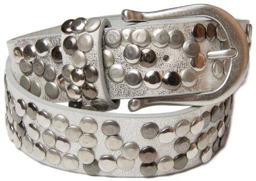 styleBREAKER Nieten Gürtel im Vintage Style mit echtem Leder 03010008 (95cm, Silber)