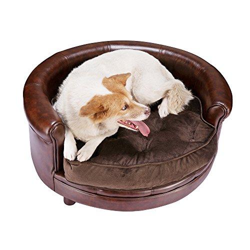 Villacera Chesterfield Simili Cuir Grand Lit pour Chien Design Canapé pour Animal Domestique, Large, Marron
