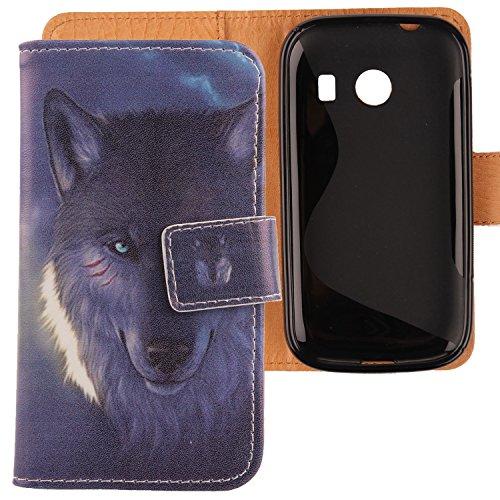 Lankashi PU Flip Leder Tasche Hülle Case Cover Schutz Handy Etui Skin Für Samsung Galaxy Ace Style SM-G310 Wolf Design