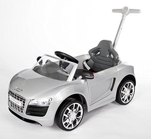 elektrisches kinderfahrzeug ROLLPLAY Push Car mit ausziehbarer Fußstütze, Für Kinder ab 1 Jahr, Bis max. 20 kg, Audi R8 Spyder, Silber