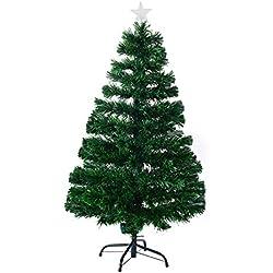 Árbol de Navidad Pino Abeto 120 cm Fibra Optica Multicolor INCLUYE Soporte de Base