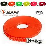 Extra leichte Schleppleine aus 16 mm Super Flex BioThane® / 1-30 Meter [15 m] / 6 Farben [Neon-Orange] / geflochten / ohne Handschlaufe