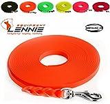 LENNIE Extra leichte Schleppleine aus 16 mm Super Flex BioThane / 1-30 Meter [10 m] / 6 Farben [Neon-Orange] / geflochten/ohne Handschlaufe