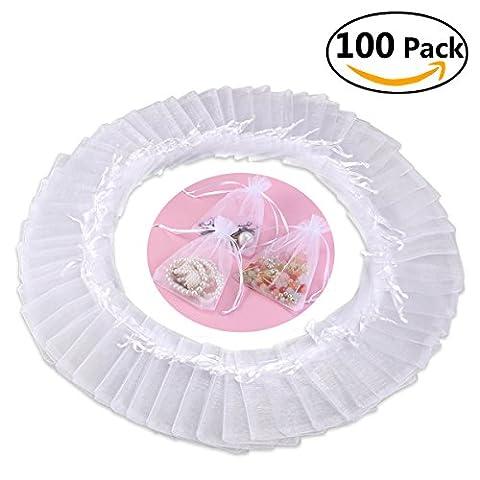 Foxnovo 100pcs 10*13cm Organza Drawstring Gift Bags Wedding Favor Bags Jewellery Pouches (White)